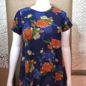 LuLaRoe Carly blue orange floral large elegant